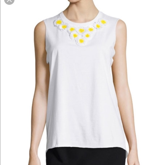 RED Valentino Tops - Red Valentino daisy embellished white cotton top M
